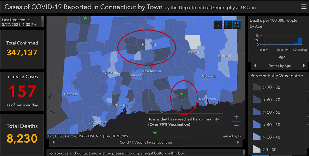 Cases of COVID-19 Reported in Connecticut by Town